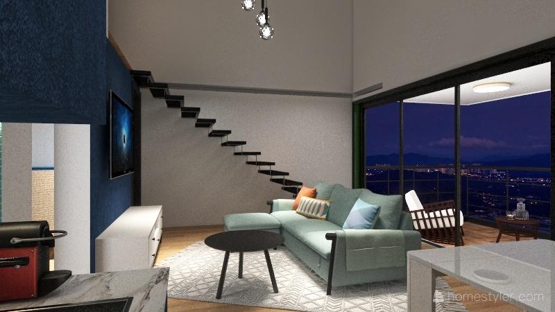 Apartment with Loft Interior Design Render