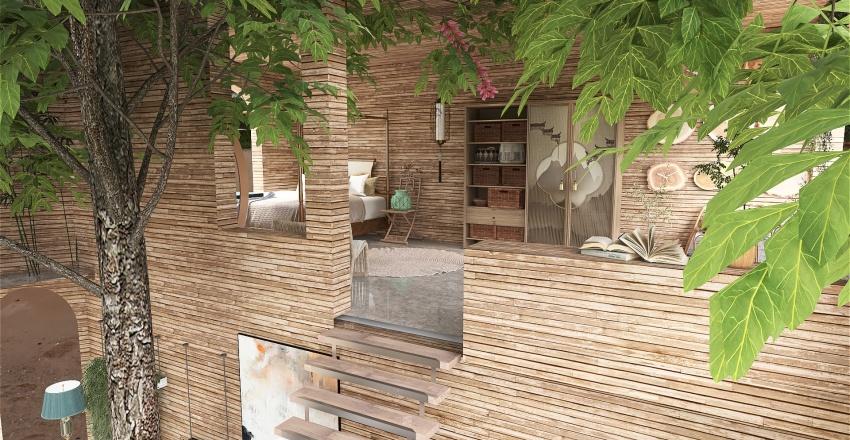 oriental loft house. Interior Design Render