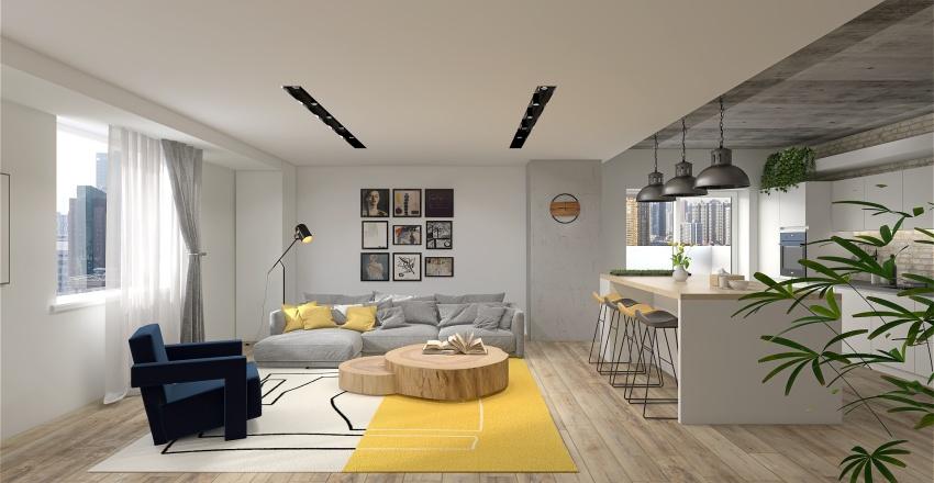 Concrete apartement Interior Design Render