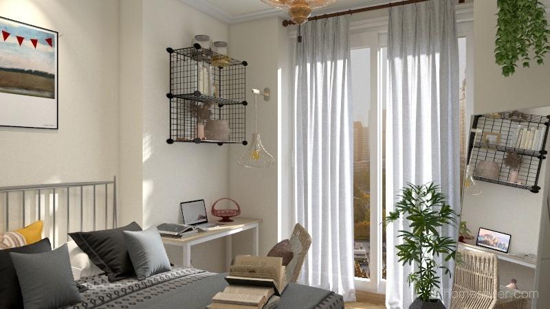 Arthouse Scandinavian bedroom Interior Design Render