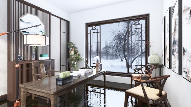 Chinese Office Interior Design Render