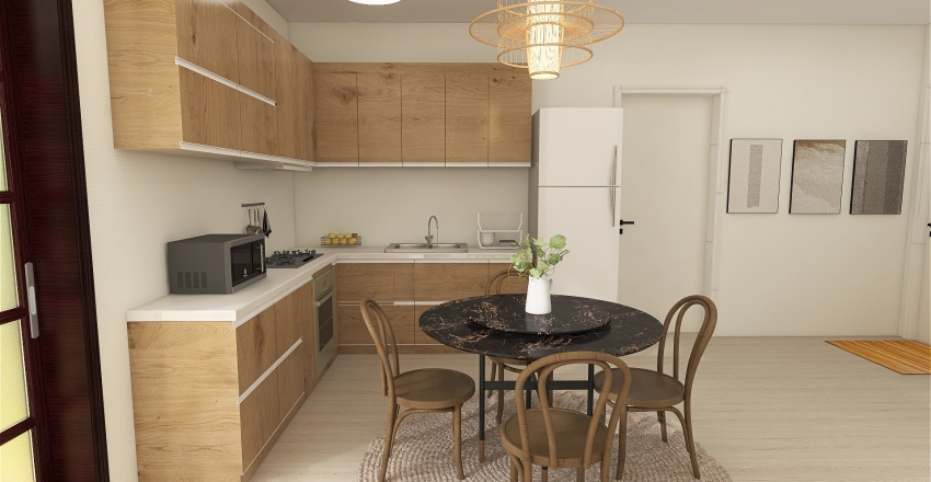 Shaded Modern Cabin Interior Design Render