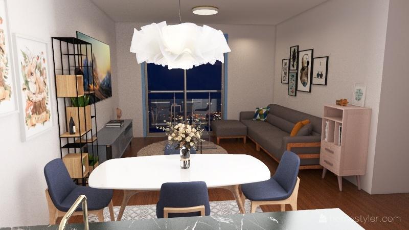 Apartamento Universitário Interior Design Render