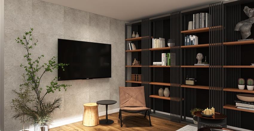 black and wood Interior Design Render