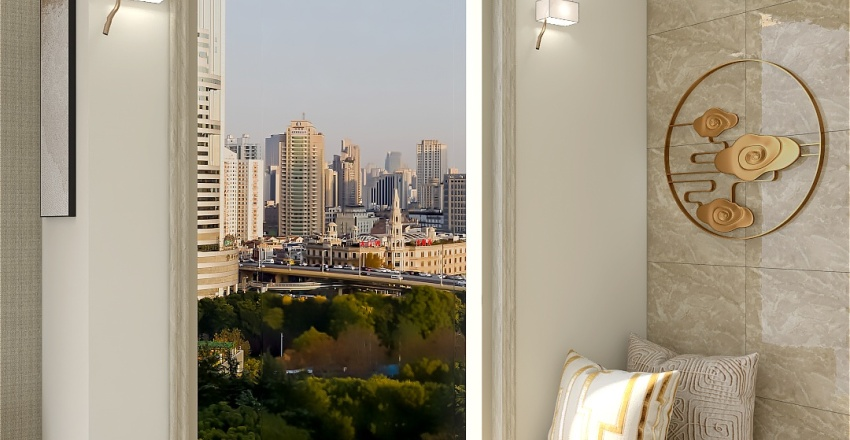 Beautiful warm living Interior Design Render