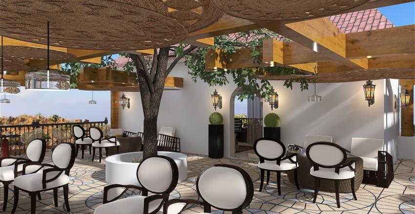 Luxurious Seaside Cafe & Restaurant Interior Design Render