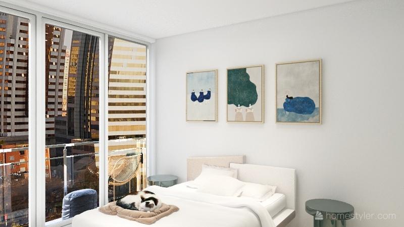 long green one bed Interior Design Render