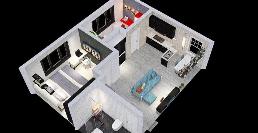 2 bedrooms appartement Interior Design Render