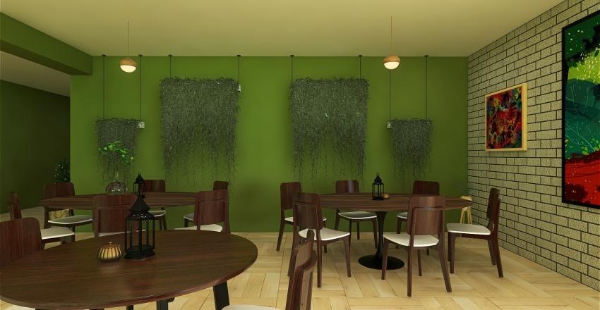 Green Restaurant Interior Design Render