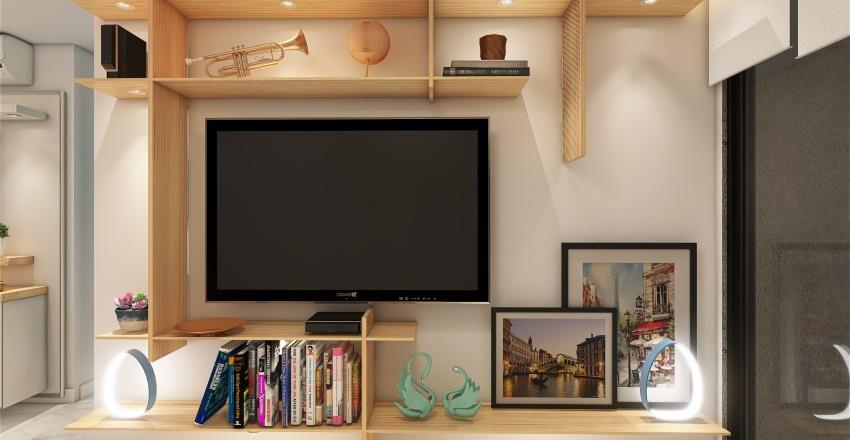 2 - Living Room and Kitchen Botafogo 2021 Interior Design Render
