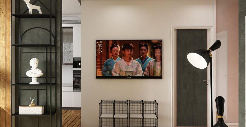 Loft of one room apartment Interior Design Render