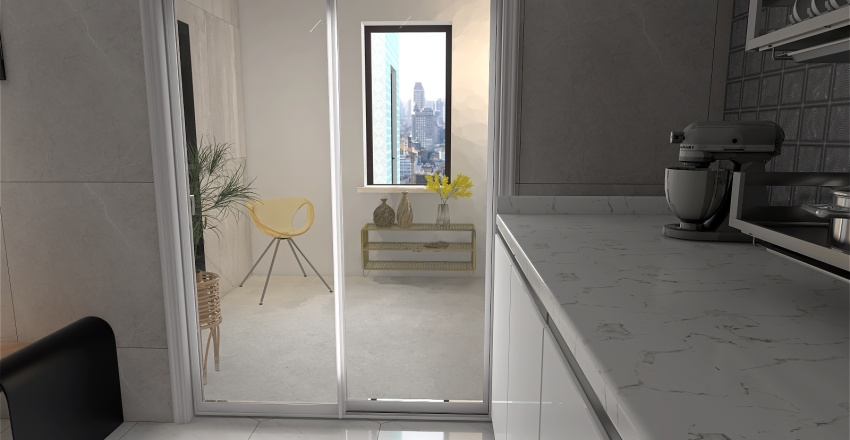 apartamento pe direito alto Interior Design Render