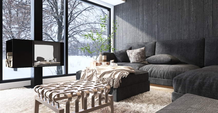 Modern Mountain Living Room Interior Design Render