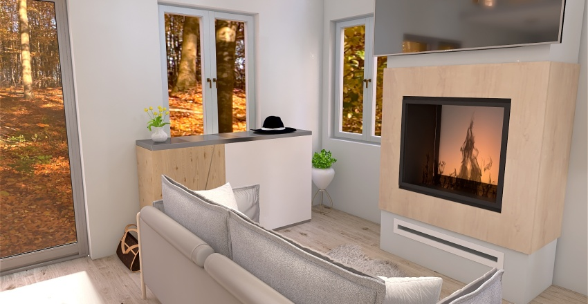 tiny house in the woods Interior Design Render