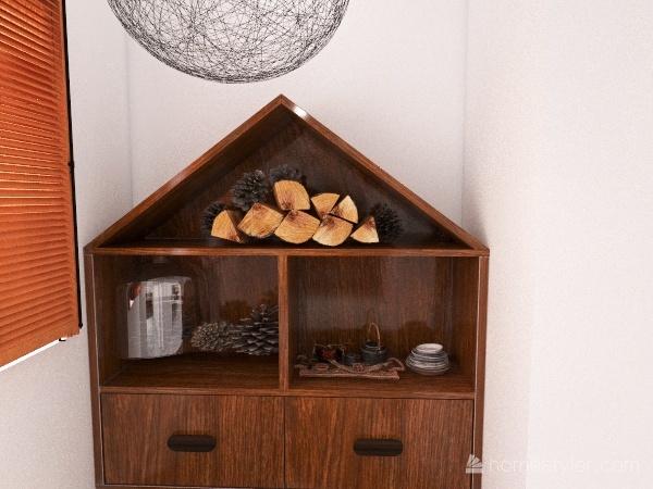 Small Fall Cabin Interior Design Render