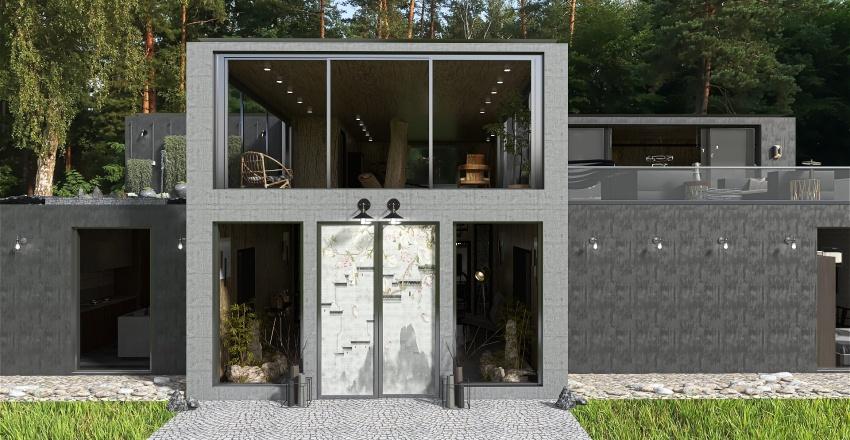 tree concrete Interior Design Render
