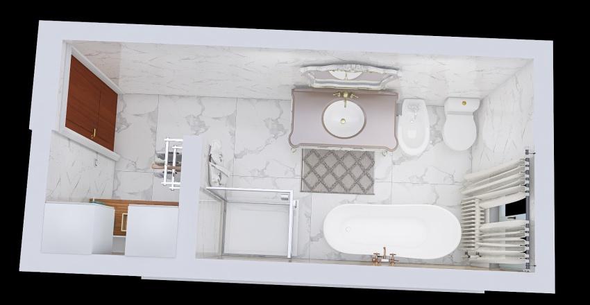 Laundry and bathroom basement Interior Design Render