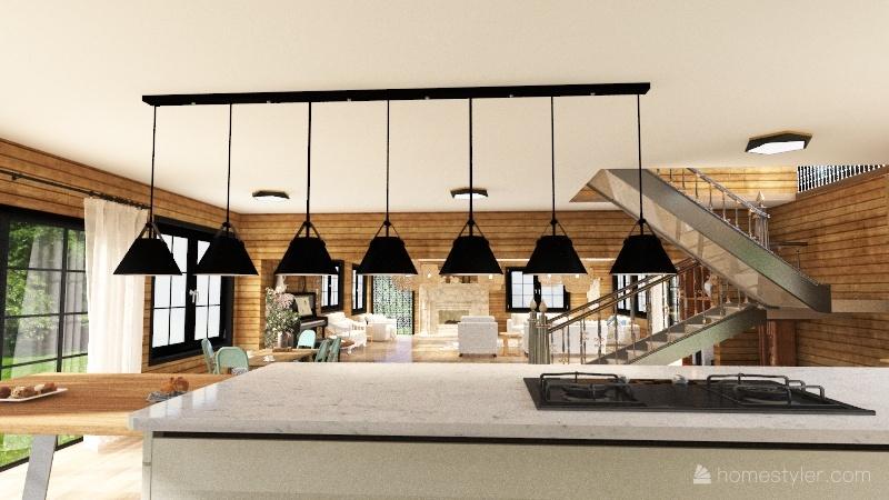 big wood house Interior Design Render