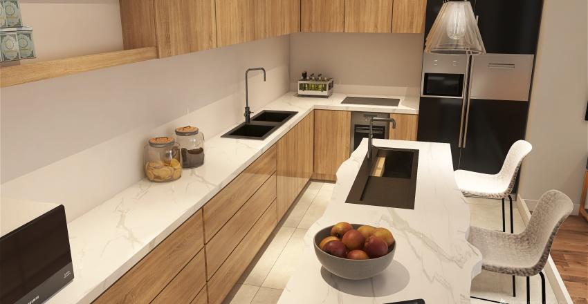 Natural Wood and Cream Interior Design Render