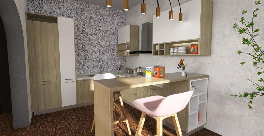 Modern Retro Style Interior Design Render