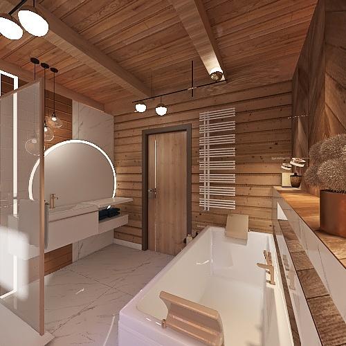 Łazienka prysznic pod oknem Interior Design Render