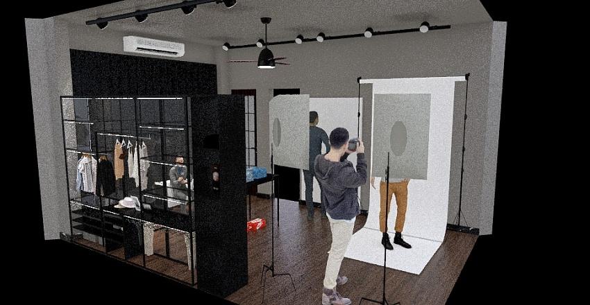 All Black Interior Design Render
