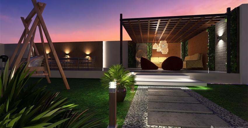 تصميم حديقة خارجية مع جلسة Interior Design Render