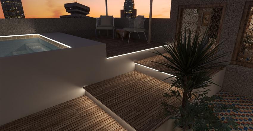 Modern Bohemian bar/ rooftop pool Interior Design Render