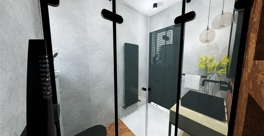 concrete & brick Interior Design Render
