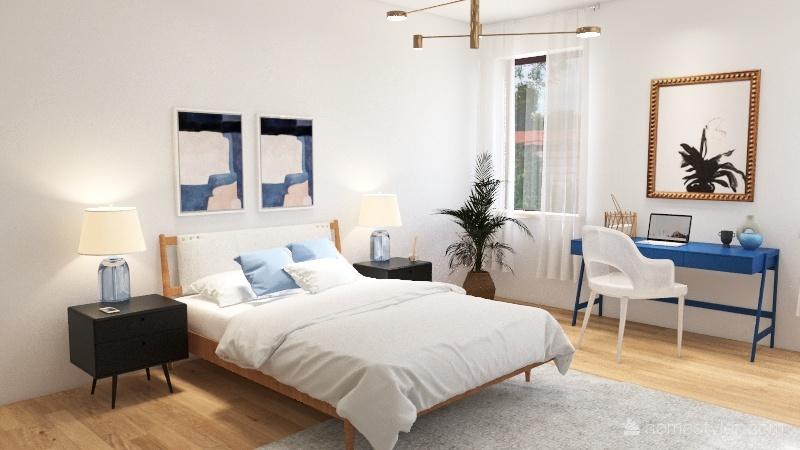 modern beach bedroom Interior Design Render