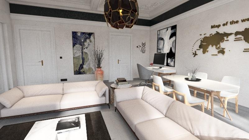 Classic Black and White Interior Design Render