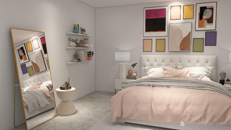 danish pastel bedroom Interior Design Render