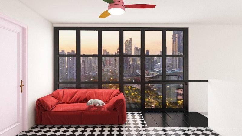 colorful loft Interior Design Render