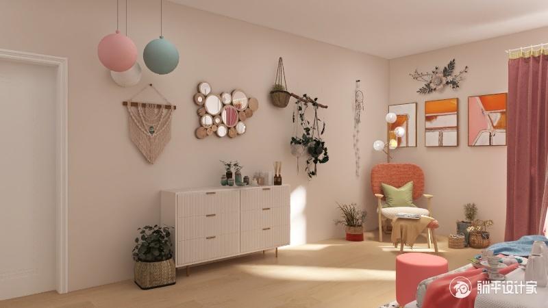 Feminine Bedroom Interior Design Render