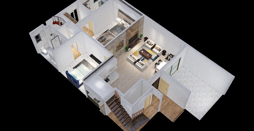 ZPN villa off ground floor sectional Interior Design Render