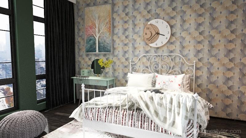 Cozy, rustic townhouse Interior Design Render