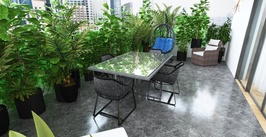 Salottino con terrazzo in città Interior Design Render