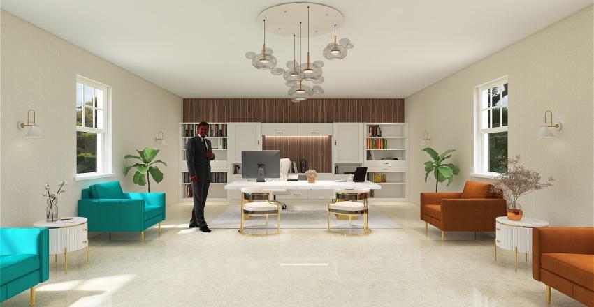 Modern home office Interior Design Render