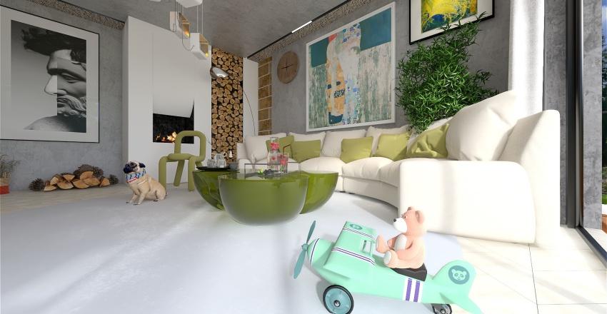 White and green living room Interior Design Render