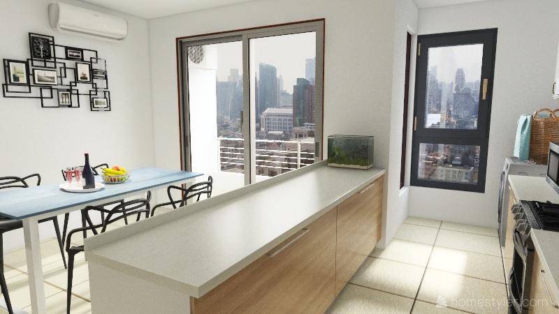 Mesada en pared cocina Interior Design Render