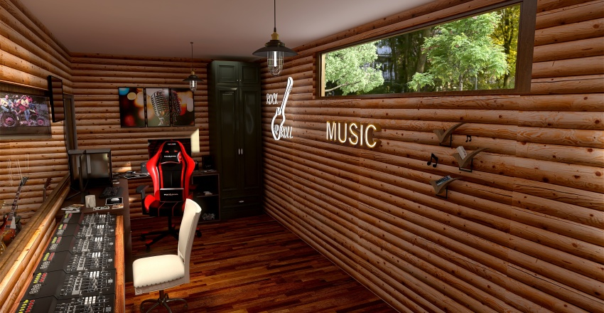 Log Home Interior Design Render