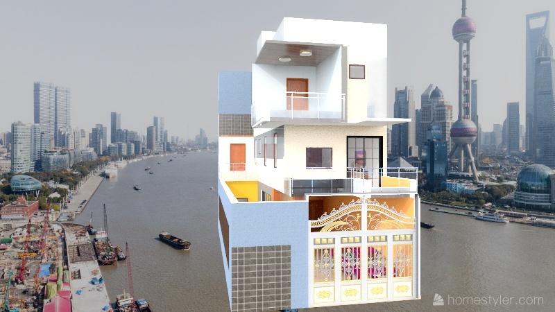 fin3 Room 1- Classic Black and White Interior Design Render