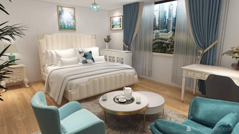 chambre hôtel en ville Interior Design Render