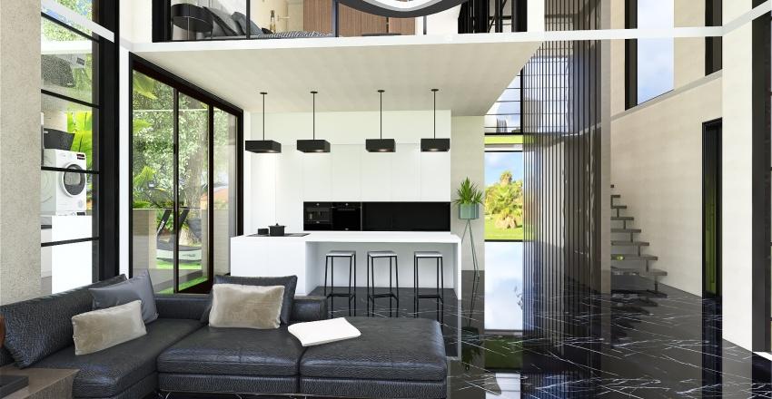 Country House Loft Interior Design Render