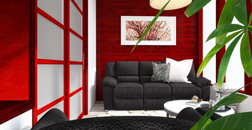 monochrome with red complementary color Interior Design Render