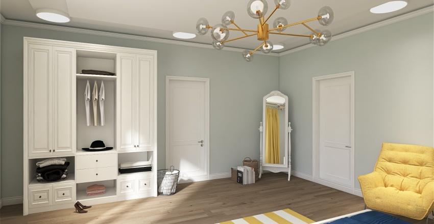 Navy & Yellow House Interior Design Render