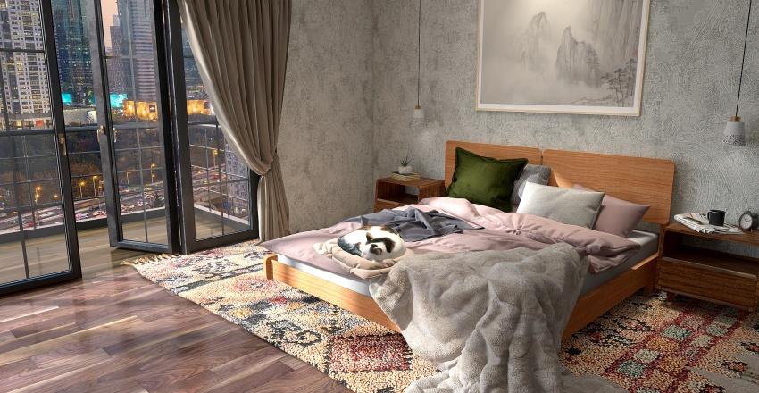 Eclectic Bedroom Apartment Interior Design Render