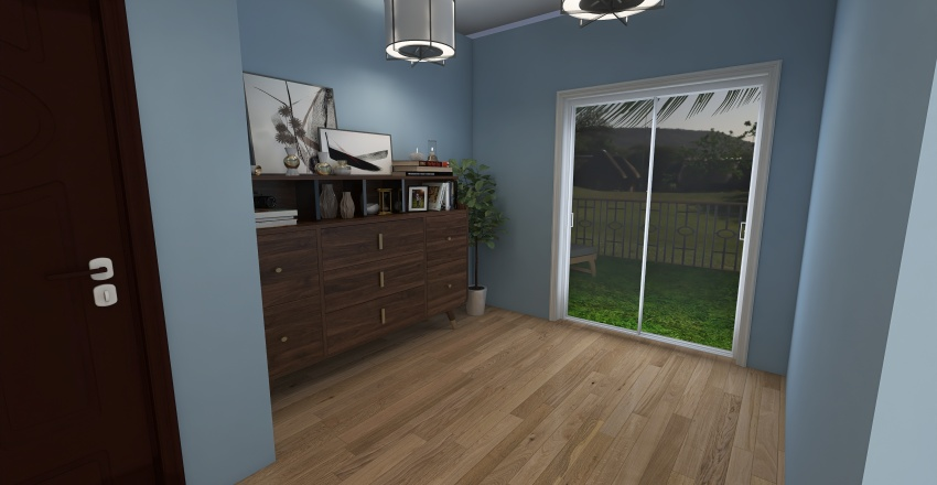 Blue Themed House Interior Design Render