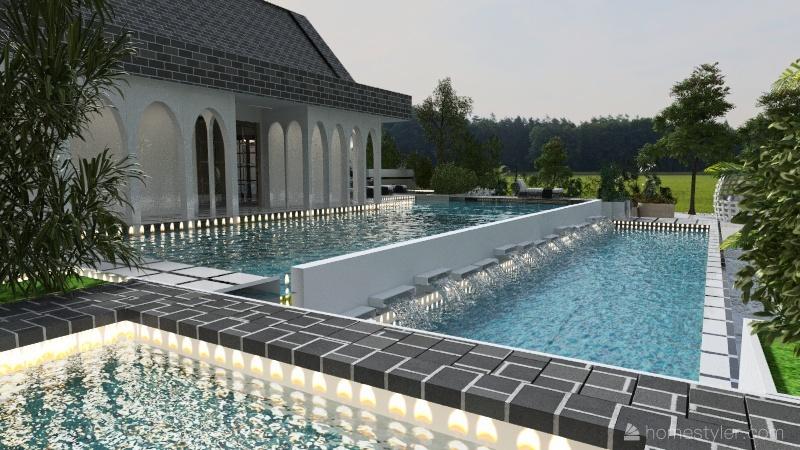 black & white house Interior Design Render