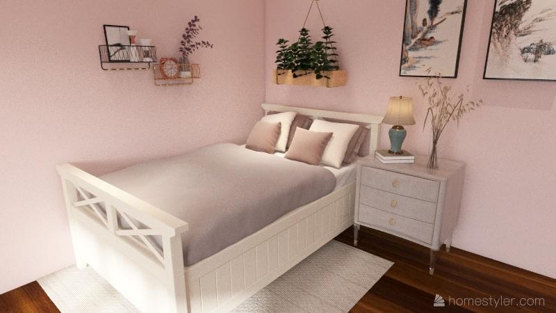 Pink Bedroom in Wabi Sabi style. Interior Design Render